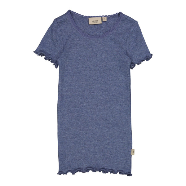 Wheat - Rib T-shirt Blue Melange