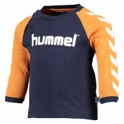 Hummel Abel langærmet t-shirt i navy/orange