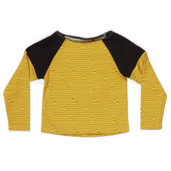 Hancy sweatshirt i gul/sort fra Alba Kid 1489-LEMON CURRY
