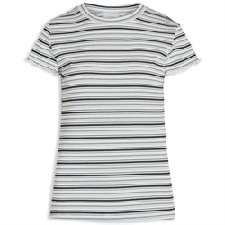 Smart China rib t-shirt med striber fra Grunt - 2023-140-MINT-STRIPE