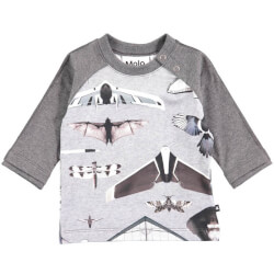 Elton t-shirt med planes and birds print fra molo 3S18A407-4685 set forfra