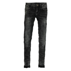 Sara jeans i sort denim og smart vask - Garcia super slim jeans set forfra