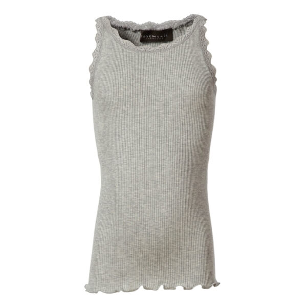 Super fin light grey melange silke-mix top fra Rosemunde