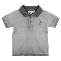 Grå polo med stolpelukning fra Small Rags - Gary 60687-01-55-CHARCOAL