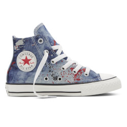 "super fede Converse All Star sko med denim med ""malersprøjt"""