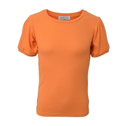Smart pufærmet t-shirt i orange fra Hound
