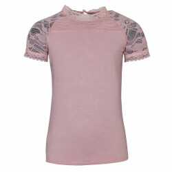 Sød rosa t-shirt med blonder fra Kids Up - Katri 7207845-3400