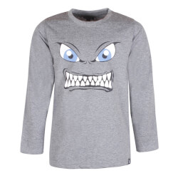 Gråmeleret t-shirt med super sejt monster-print foran fra Kids-Up - Stig