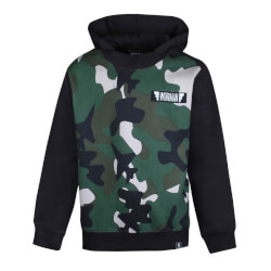 Sort sweatshirt med camouflage print på fronten fra Kids Up