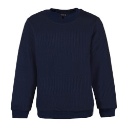 Navy sweatshirt i ribbet kvalitet fra Kids Up