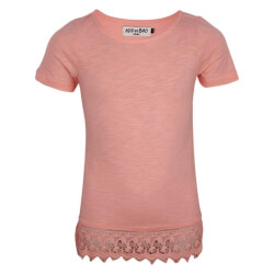 Super flot rosa T-shirt med blonde kant fra ADD to BAG