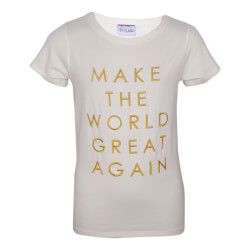 hvid t-shirt med gult statement printet på front fra By Clara - Make The World T-shirt, WORLD-TEE-WHITE
