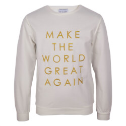 Hvid sweatshirt med print og bogstaver i guld fra By Clara - Make the world Sweatshirt, WORLD-SWEAT-WHITE