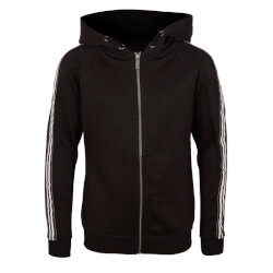 Sort cardigan med hvide striber og hætte fra Hound - Sweat Zip Cardigan, 7180253-099-BLACK