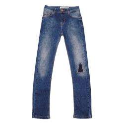 Denim blå jeans fra Costbart model Enrico Slim Fit 13137-837 set forfra