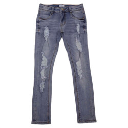 Lyse jeans slidt stil med lommer både for- og bag fra Grunt - Paint On Jeans, 1814-213-AGED-INDIGO