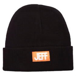 Sort Jeff hue med logo badge i orange/hvid foran 27172-312
