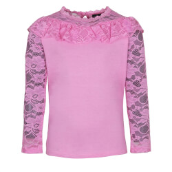 Fin bluse i pink med blondeærmer fra Kids-Up - model SEJA 7602568-3380
