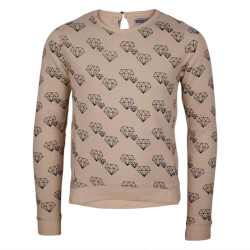 Smart offwhite sweatshirt med diamantprint