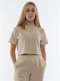 Onme - Plain Beige Cropped T-shirt