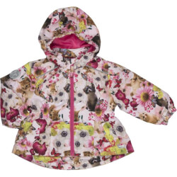 Blomstret mini jakke med lommer fra Happy Calegi-HOPE MINI JACKET, CA1216-ALLOVER-PRINT