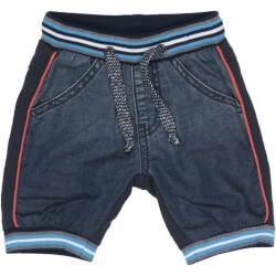 Street shorts med denim, ribkant og bindebånd fra  Happy Calegi - HELLO SHORTS JEANS, CA1323-DRESSBLUES