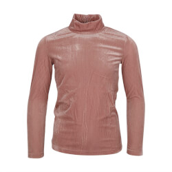 Rosa turtleneck trøje i velour kvalitet med stribet effekt fra By Clara