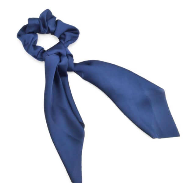 Image of Höjtryk - Scrunchie m. Sløjfe Navy