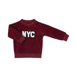 Smart NYC sweatshirt i bordeaux velour fra Petit Sofie Schnoor