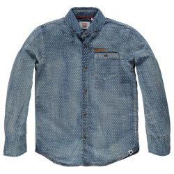 Smart tumble dry skjorte i denim med slid